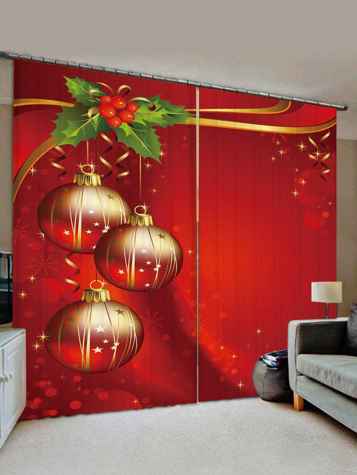 2 Panels Christmas Balls Berry Print Window Curtains - LAVA RED W30 X L65 INCH X 2PCS