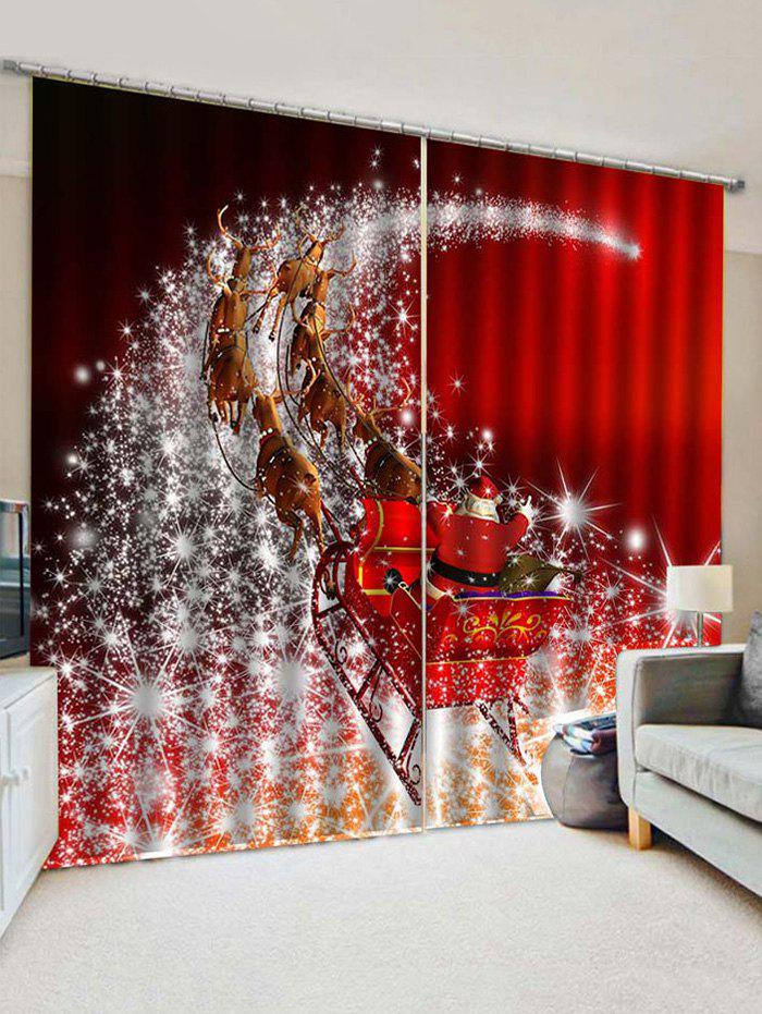 2 Panels Christmas Elk Sleigh Stars Print Window Curtains - multicolor W33.5 X L79 INCH X 2PCS