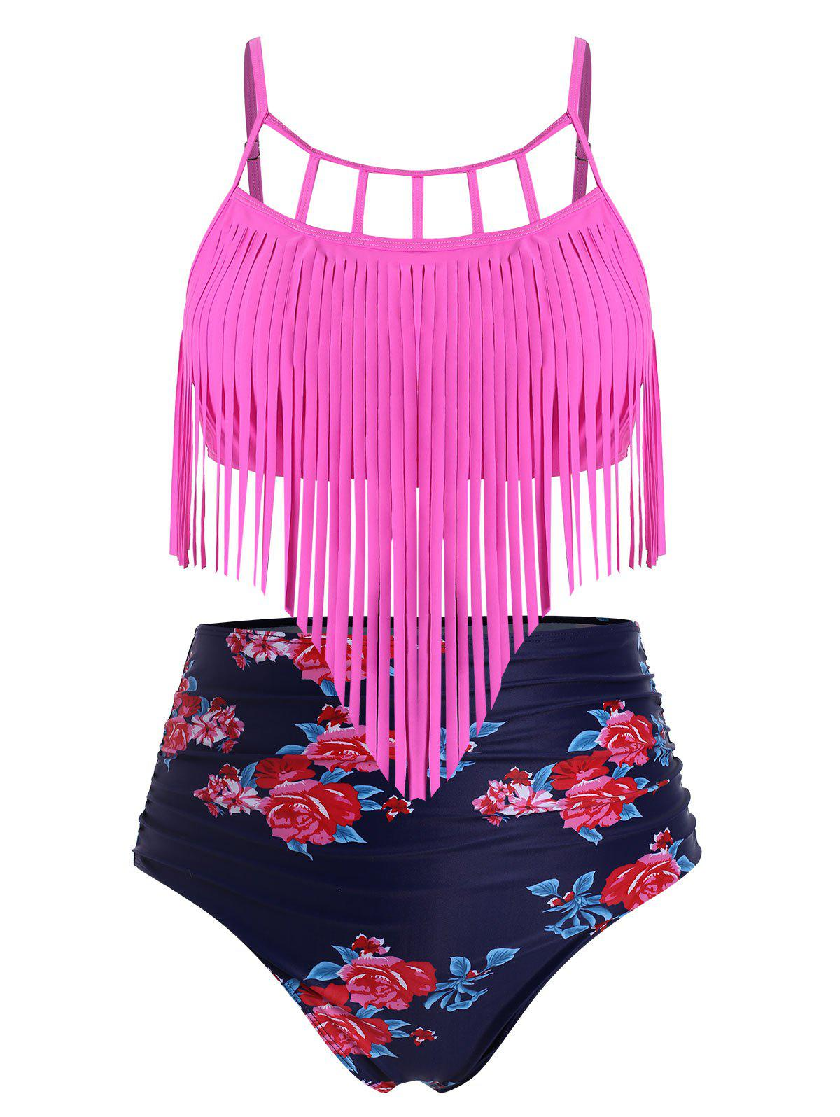 Fringed Floral Ruched High Waisted Plus Size Tankini Swimsuit - ROSE RED 4X