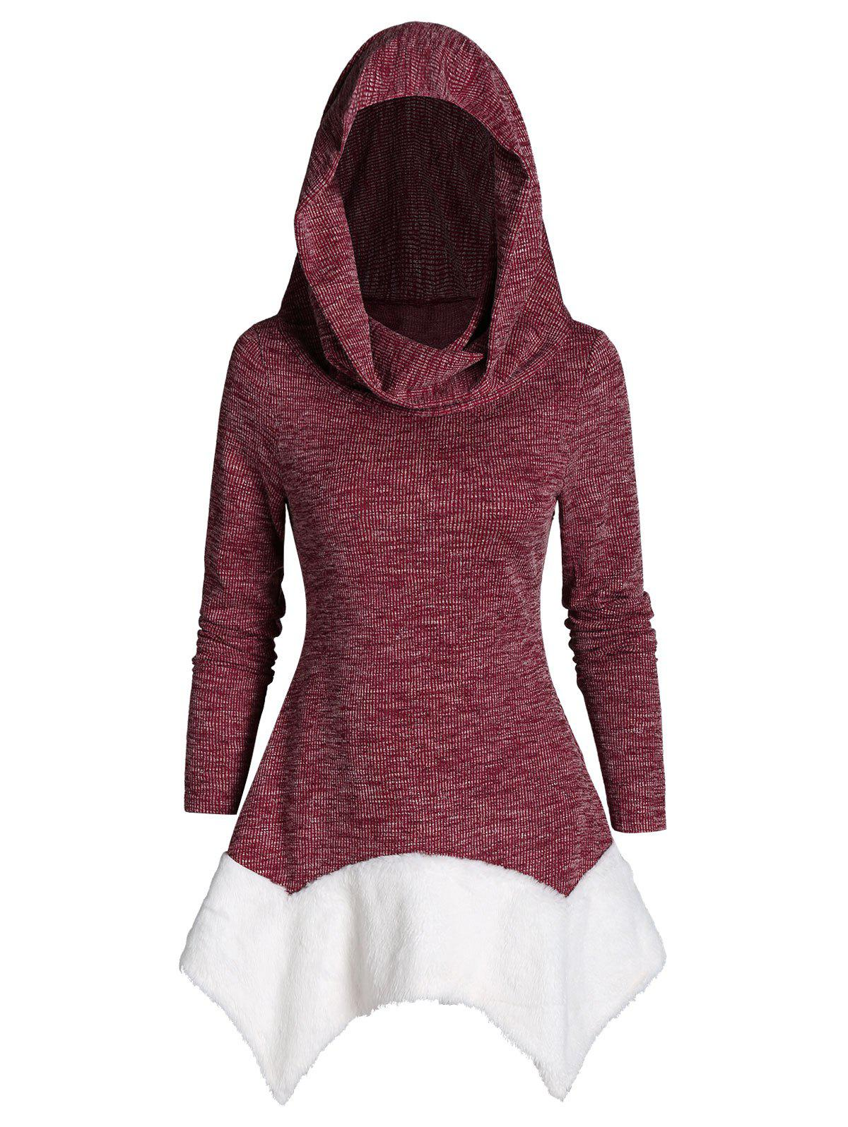 Hooded Faux Fur Hanky Hem Heathered Ribbed Sweater - RED WINE 3XL