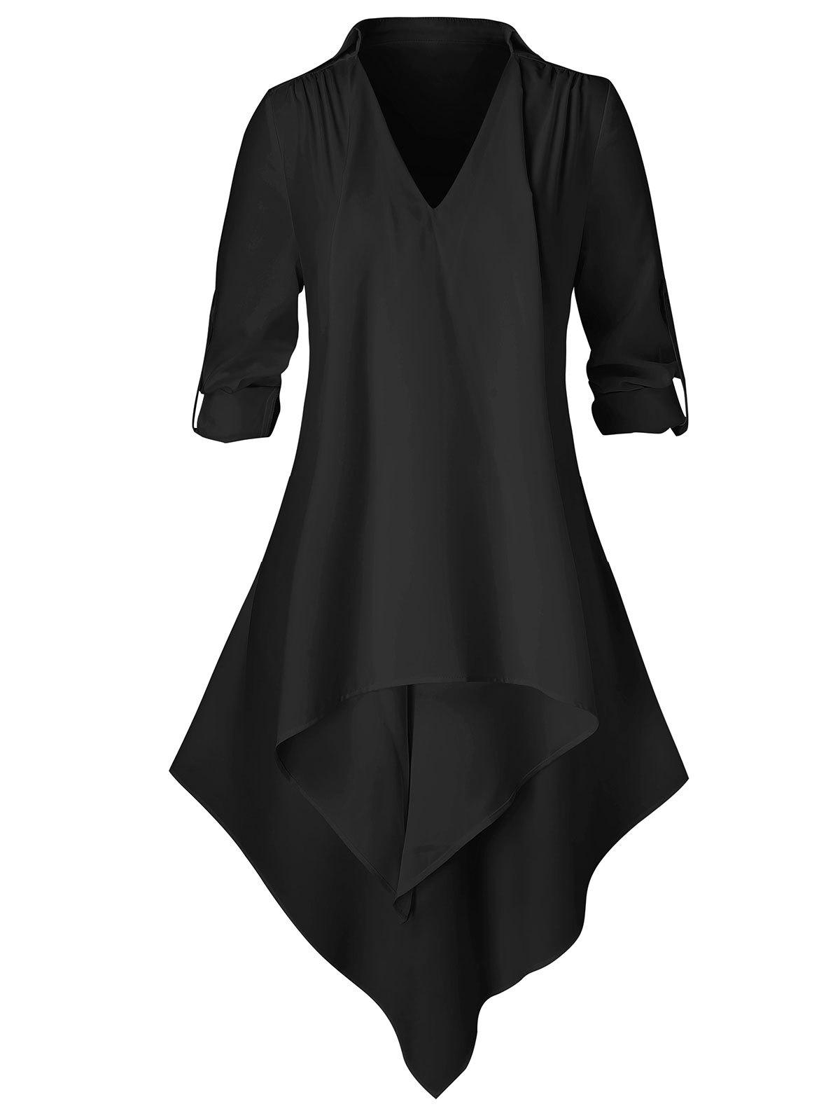 Plus Size Solid Asymmetrical Long Sleeve Shirt - BLACK 2X