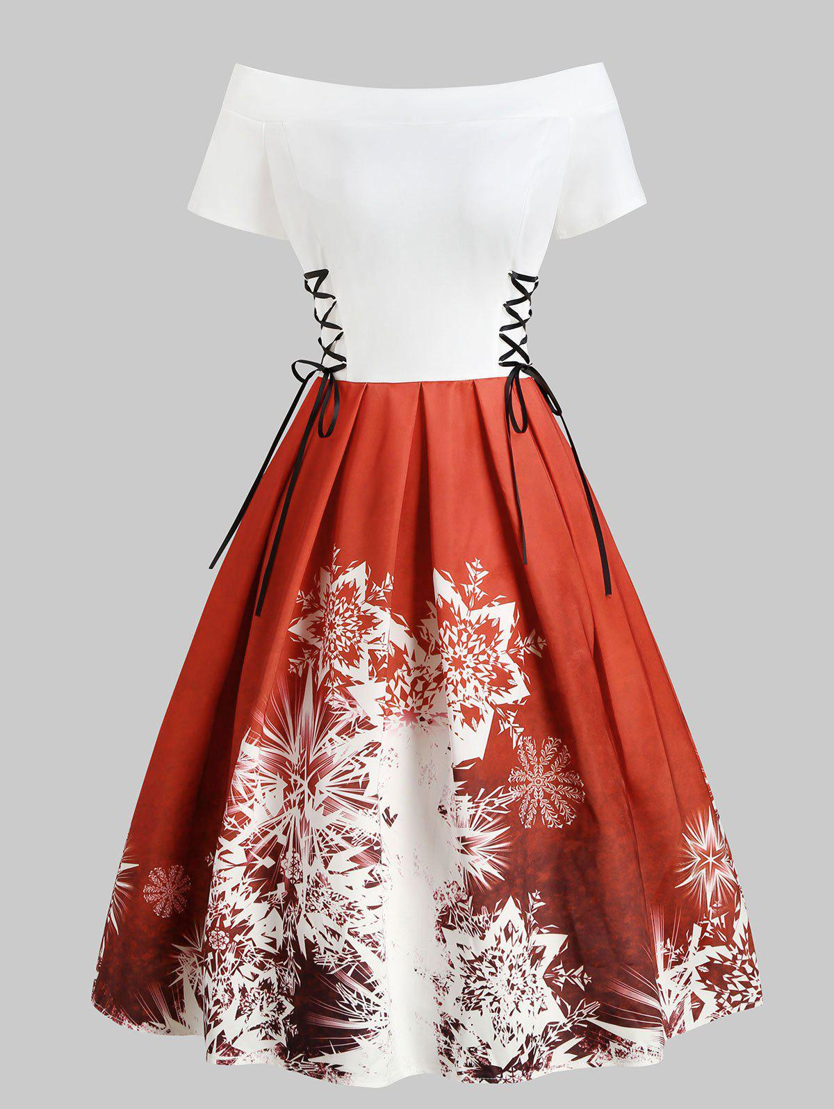Christmas Snowflake Lace Up Off Shoulder Retro Dress - RED M
