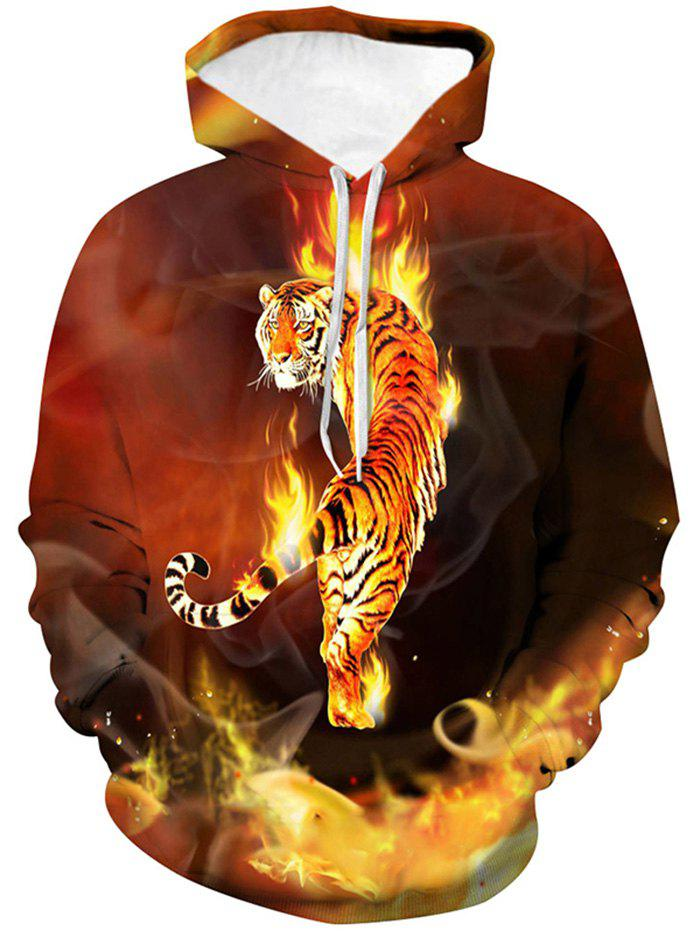 Tiger Graphic Front Pocket Drawstring Hoodie - multicolor L