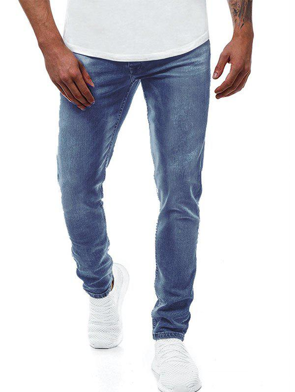 Solid Color Zipper Fly Casual Jeans - BLUE M