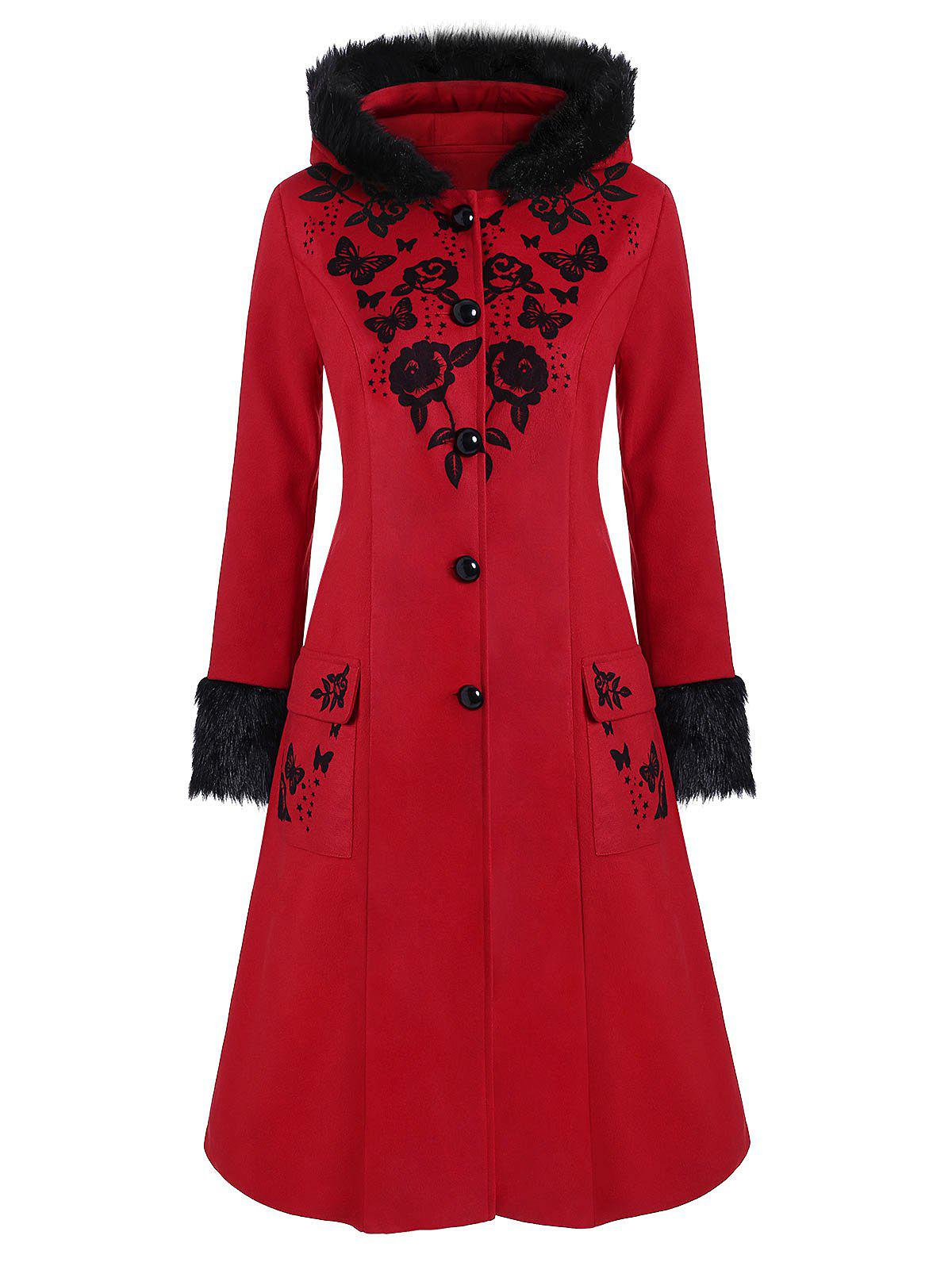 Plus Size Faux Fur Hooded Floral Butterfly Print Coat - LAVA RED 2X