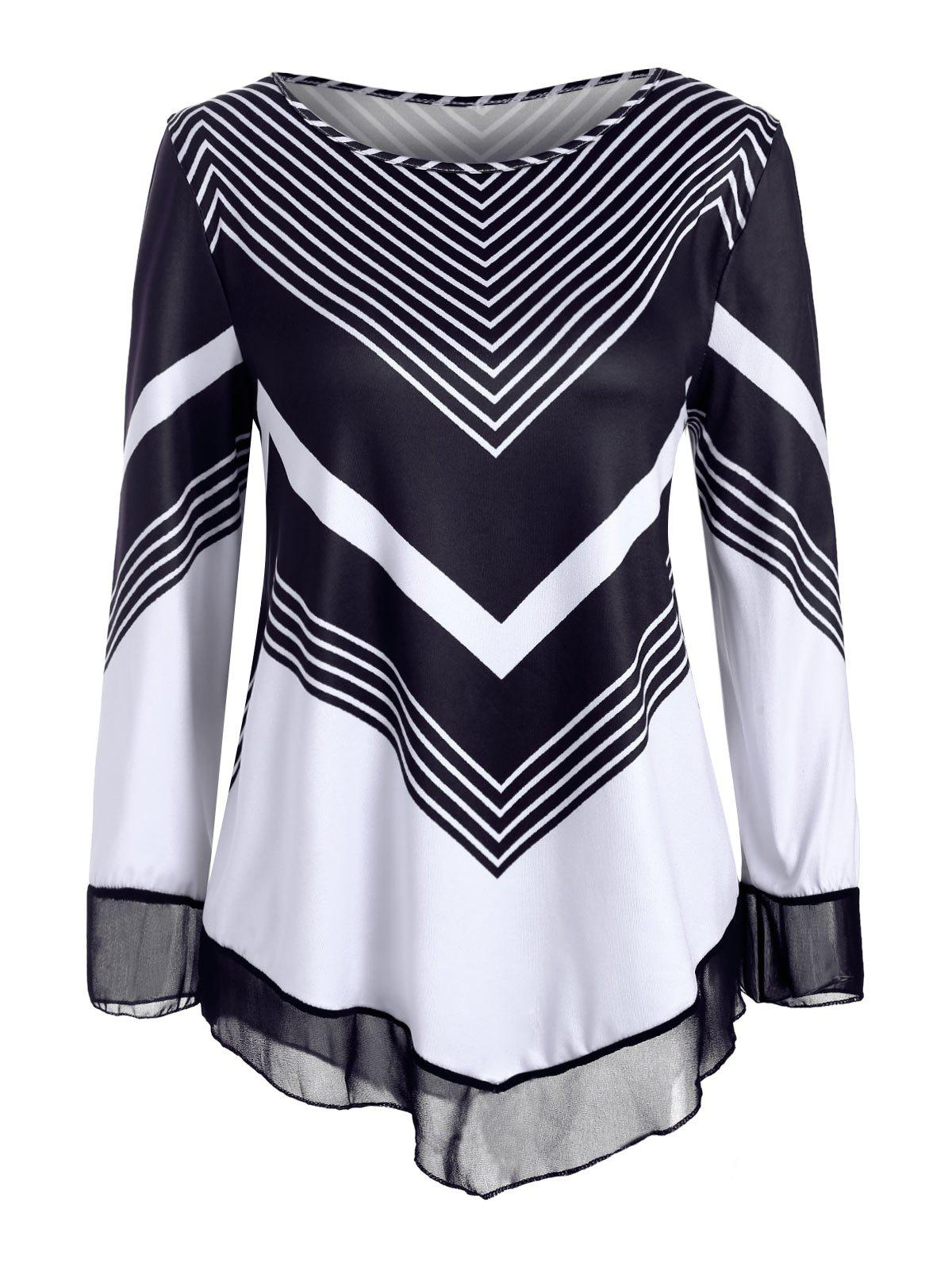 Striped Chiffon Panel Long Sleeves Tee - WHITE 2XL