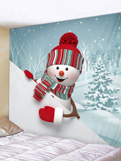 Christmas Snowman Trees Print Tapestry Wall Hanging Art Decoration - multicolor W79 X L71 INCH