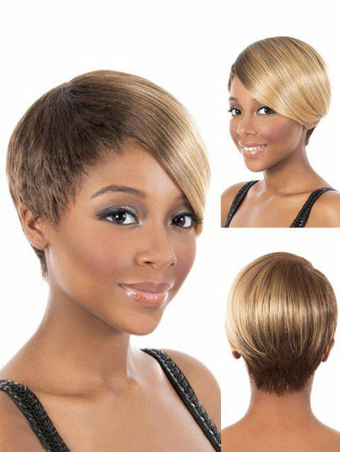 Short Side Bang Straight Ombre Cosplay Wig - CAMEL BROWN