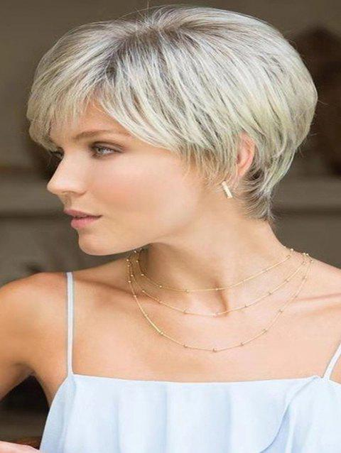 Side Bang Straight Short Ombre Synthetic Wig - WARM WHITE
