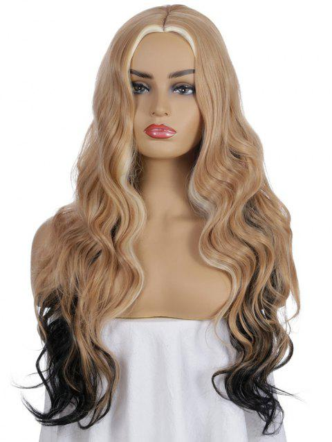 Synthetic Center Part Long Mixed Ombre Body Wave Wig - TIGER ORANGE
