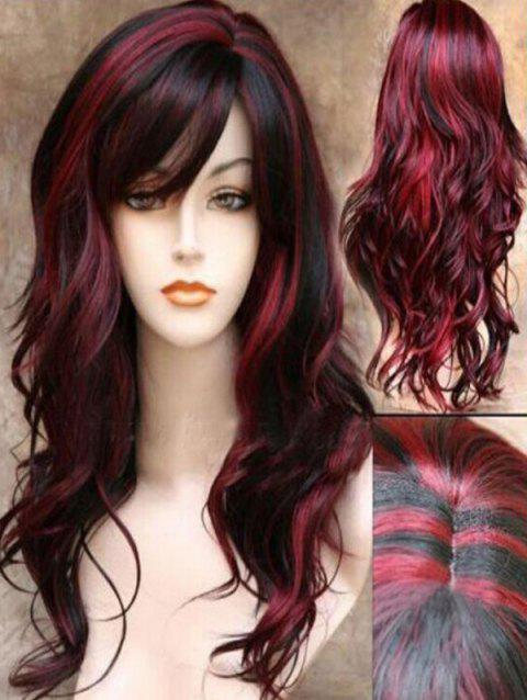 Synthetic Side Bang Long Body Wave Mixed Wig - RED WINE