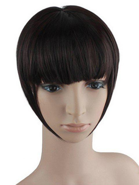 Synthetic Short Straight Clip-on Hair Piece - BLACK EEL