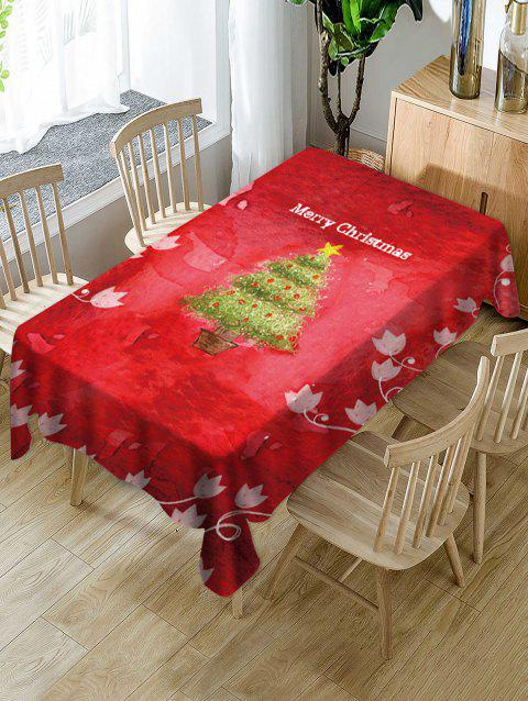 Christmas Tree Greeting Flower Print Fabric Tablecloth - multicolor 60 X 84 INCH