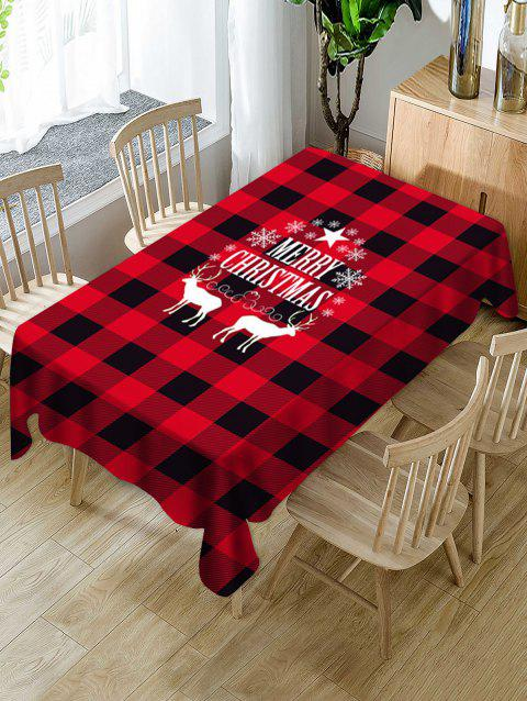 Christmas Deer Snowflake Plaid Print Fabric Tablecloth - multicolor 60 X 84 INCH