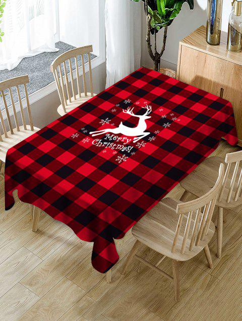 Christmas Deer Greeting Plaid Print Fabric Tablecloth - multicolor 60 X 84 INCH