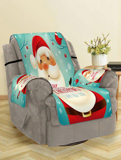 Christmas Santa Claus Greeting Pattern Couch Cover - AQUAMARINE SINGLE SEAT