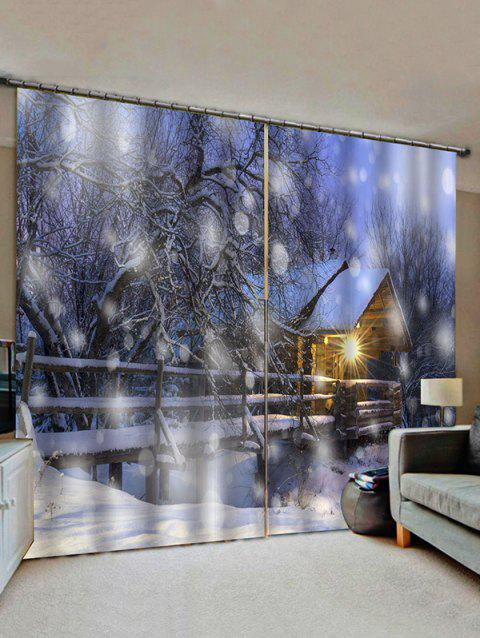 2 Panels Snowy Forest House Light Pattern Window Curtains - multicolor W30 X L65 INCH X 2PCS