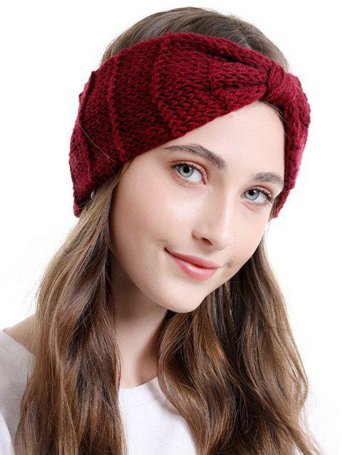 Bowknot Knitted Headband - RED WINE