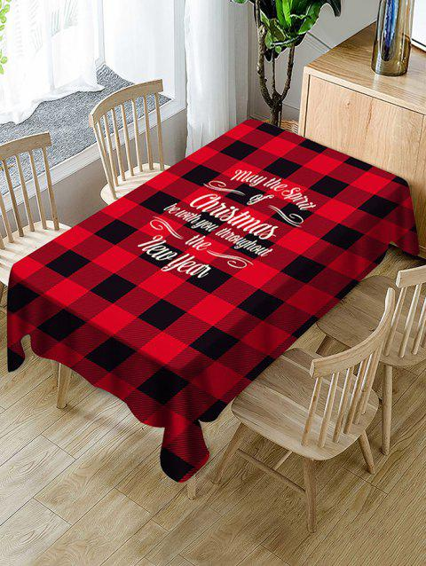 Christmas Greeting Plaid Print Waterproof Fabric Tablecloth - multicolor 55 X 55 INCH