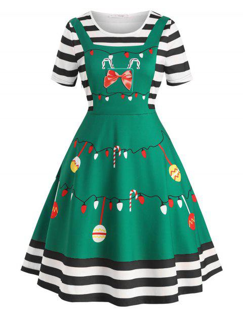 Plus Size Vintage Christmas Print Fit and Flare Dress - BLACK 5X