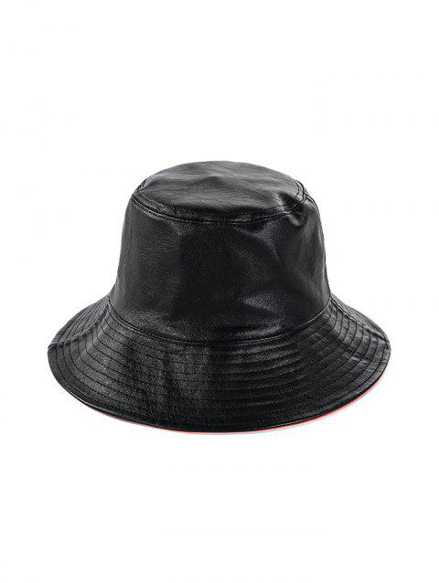 Double Faced Solid Round Floppy Hat - BLACK