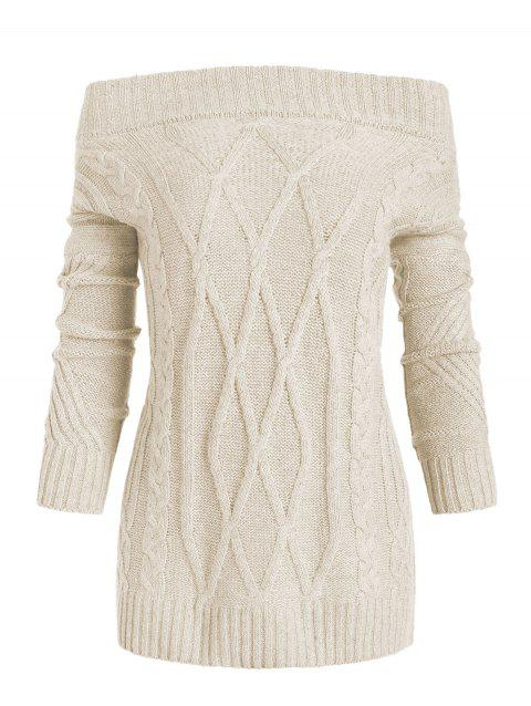 Off Shoulder Cable Knit Solid Sweater - CORNSILK XL