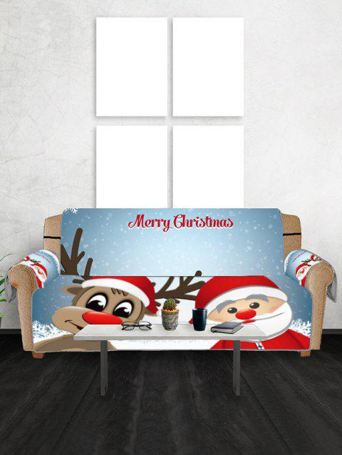 Christmas Santa Claus and Deer Pattern Couch Cover - CRYSTAL BLUE TWO SEATS
