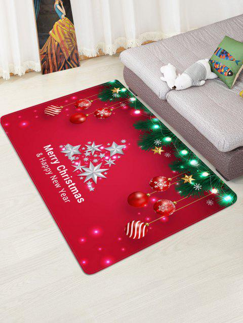 Christmas Tree Balls Lights Greeting Pattern Water Absorption Area Rug - multicolor W47 X L63 INCH