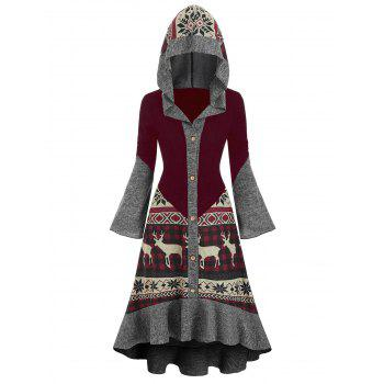 Christmas Elk Hooded High Low Flounce Hem Knitted Dress
