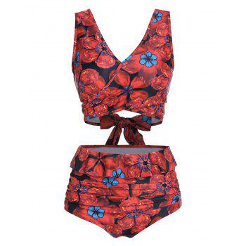 Floral Print V Neck High Waisted Tankini Swimsuit