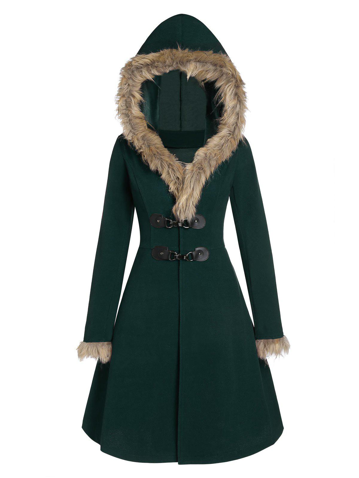 Longline Faux Fur Hood Coat - DEEP GREEN 2XL