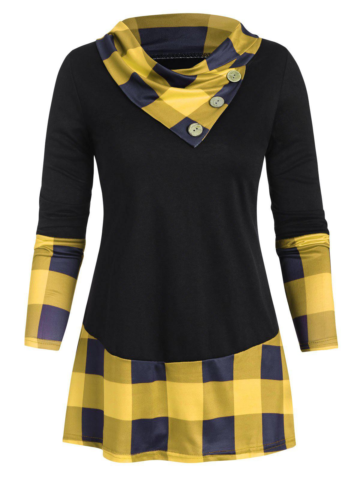 Plaid Panel Buttons Longline Tee - YELLOW XL