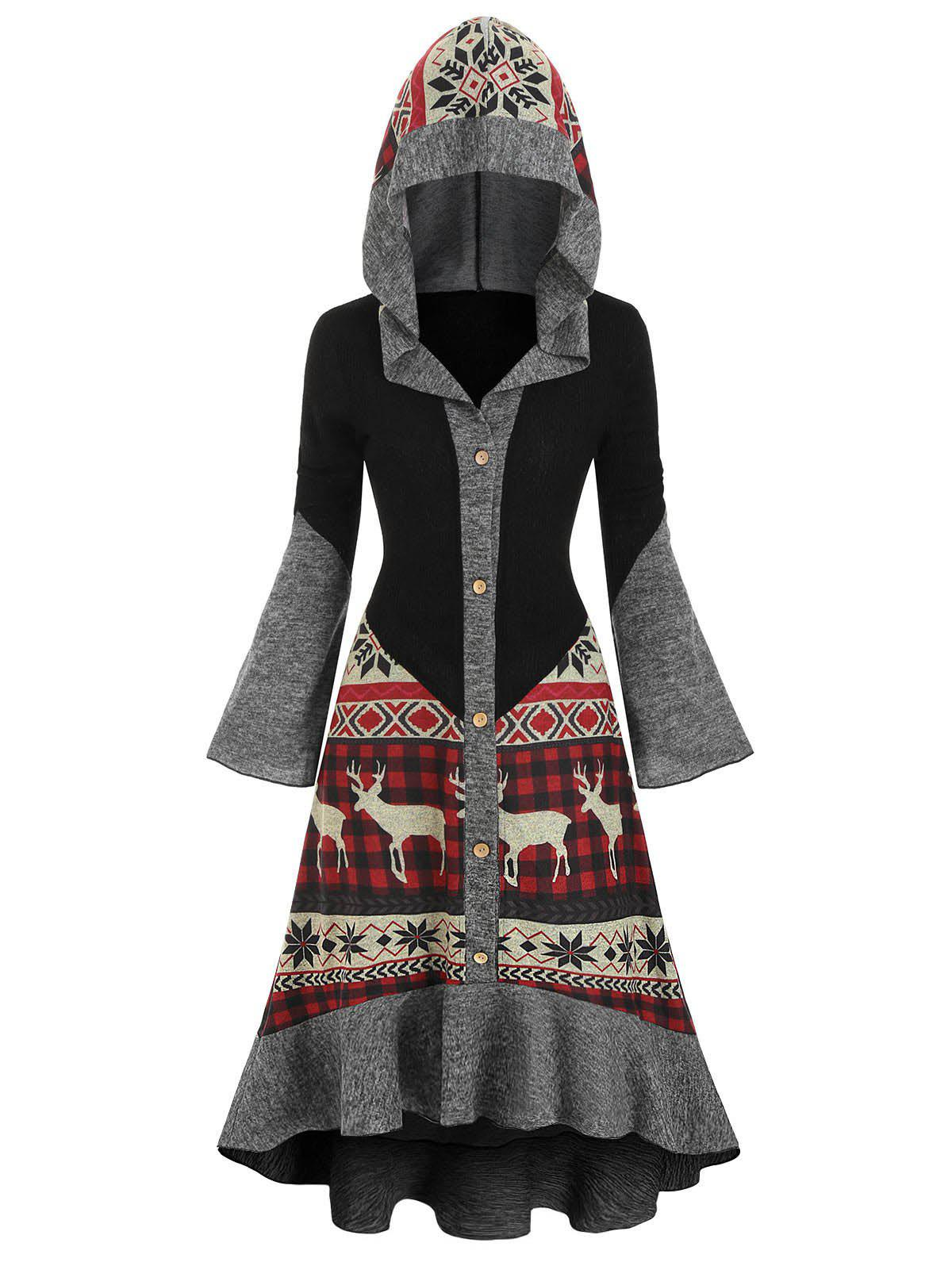 Christmas Elk Hooded High Low Flounce Hem Knitted Dress - multicolor L