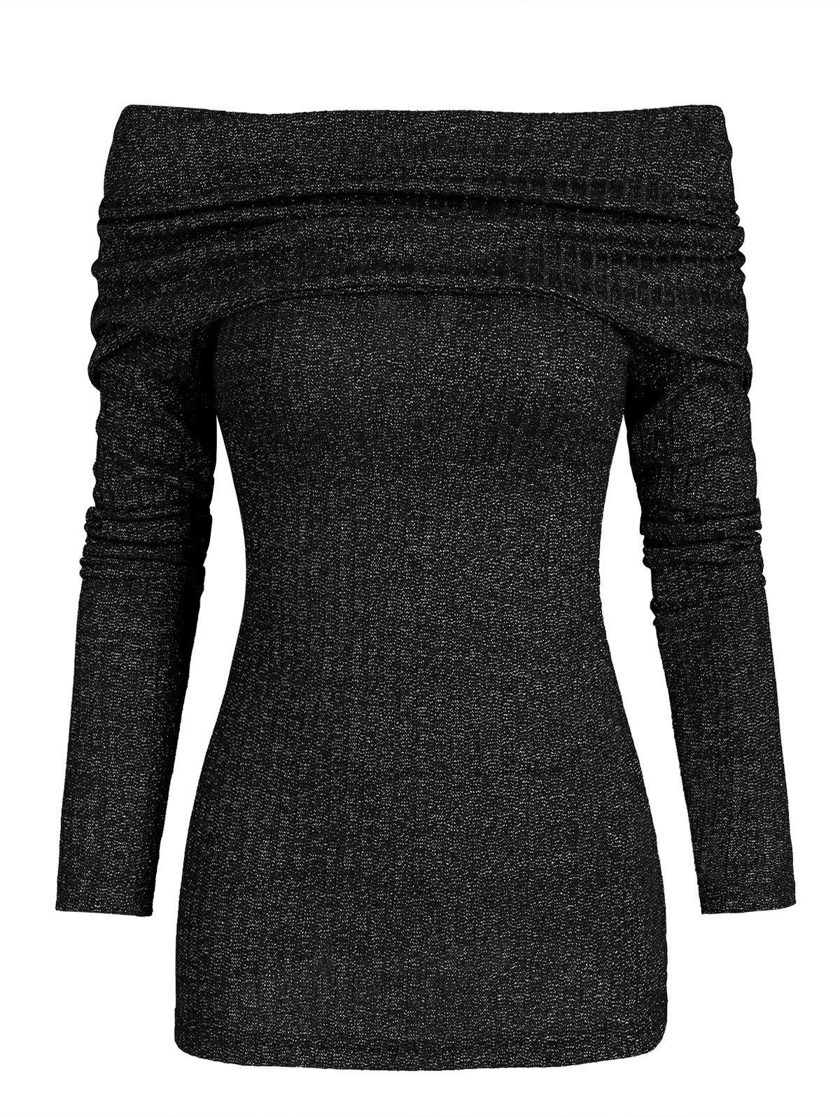 Folded Bowknot Metallic Thread Knitwear - BLACK M