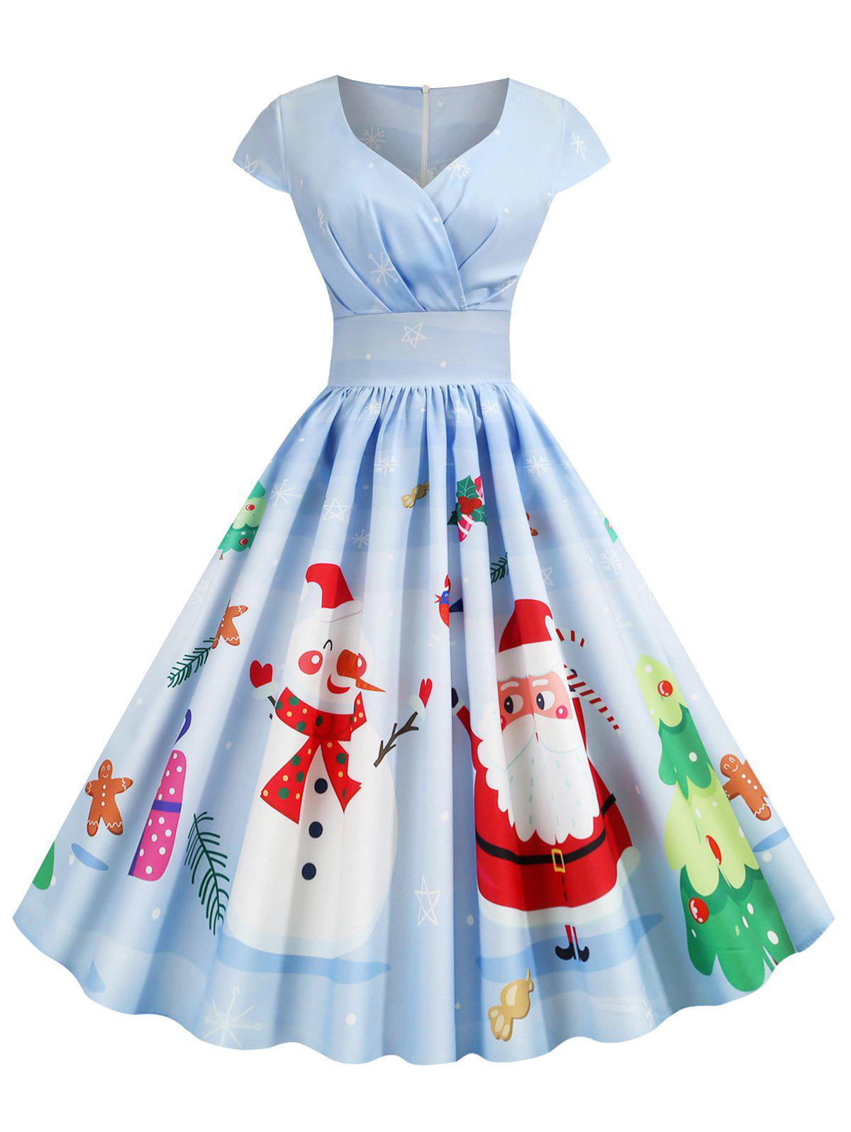 Christmas Santa Claus Elk Snowman Print Surplice Dress - BLUE GRAY 2XL