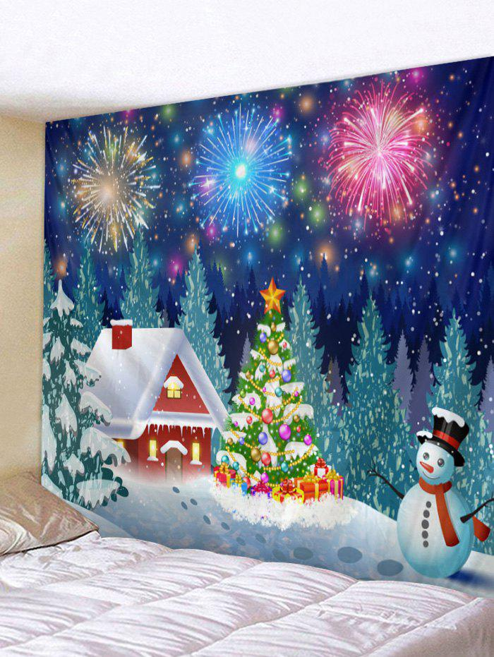 Christmas Snowman Firework Print Wall Art Tapestry - multicolor A W71 X L91 INCH
