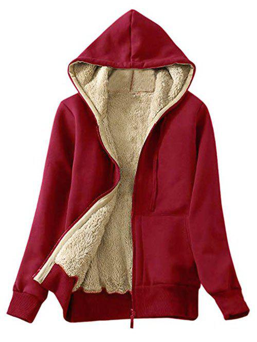 Faux Shearling Lining Hooded Jacket - CHERRY RED S