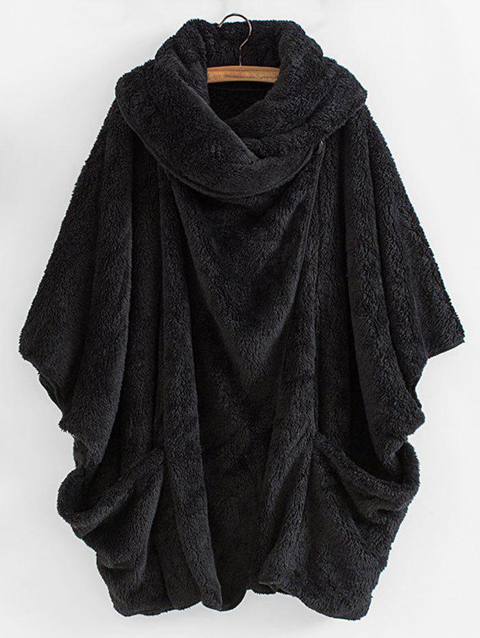 Shawl Collar Dolman Plush Coat - BLACK L