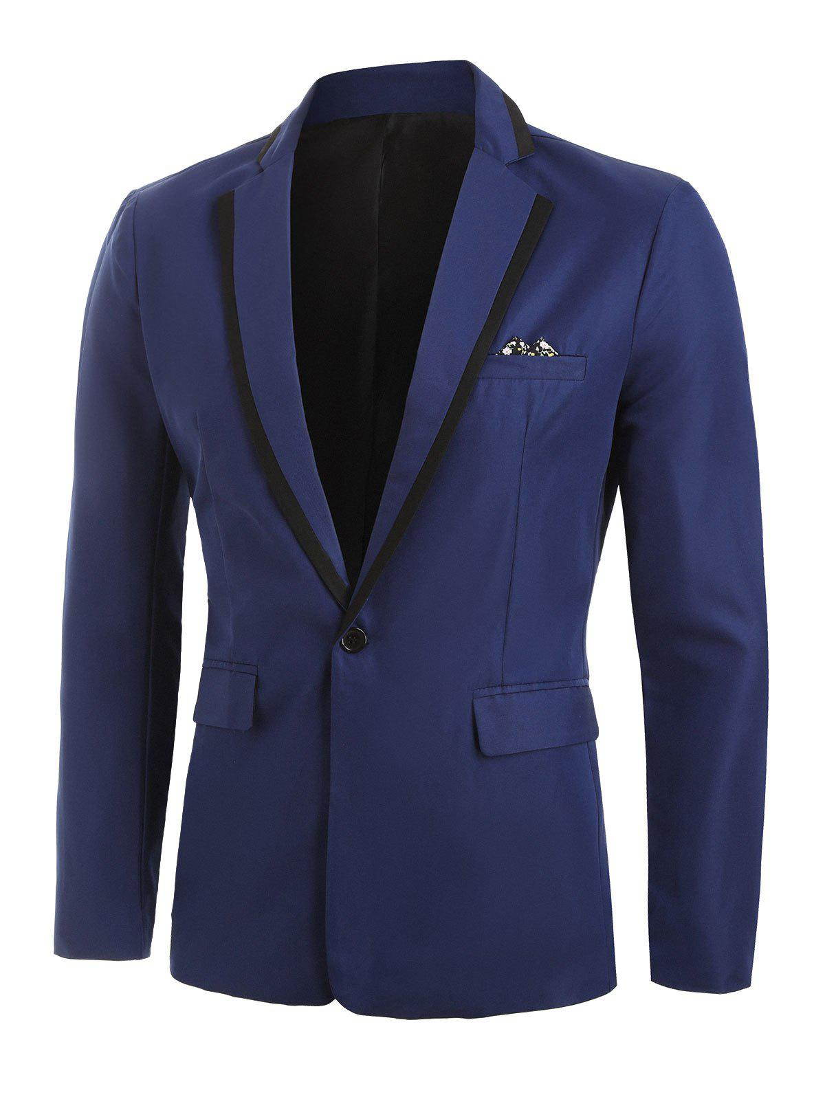 Solid Flap Pocket One Button Blazer - BLUE XL