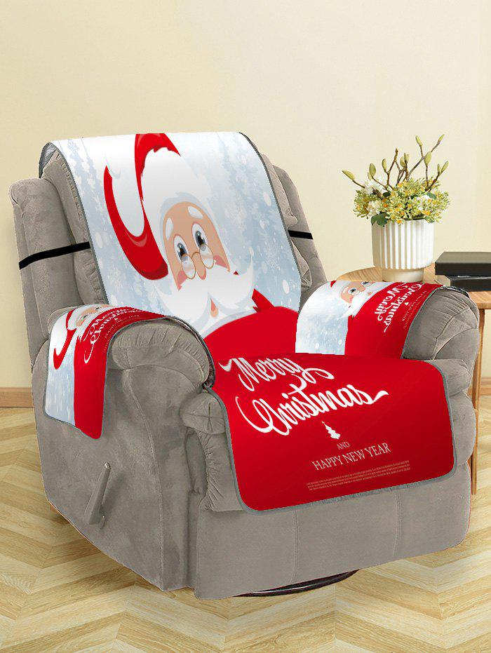 Santa Merry Christmas Print Decor Sofa Cover - RUBY RED SINGLE SEAT