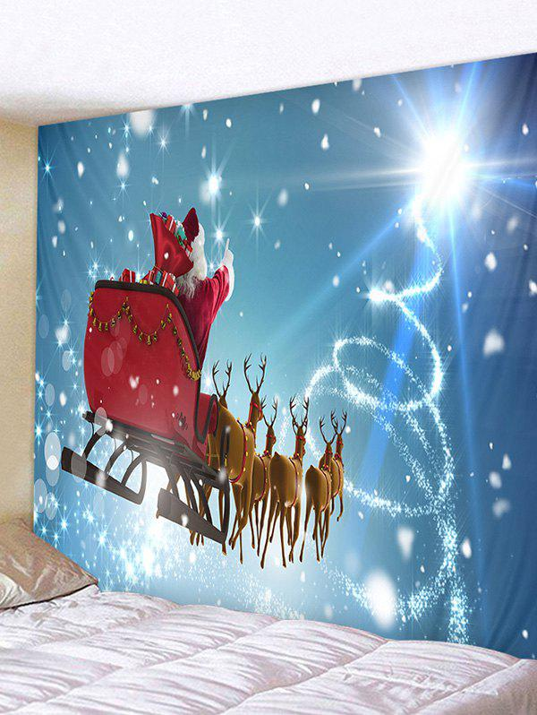 Father Christmas Deer Printed Tapestry - DENIM BLUE W59 X L51 INCH