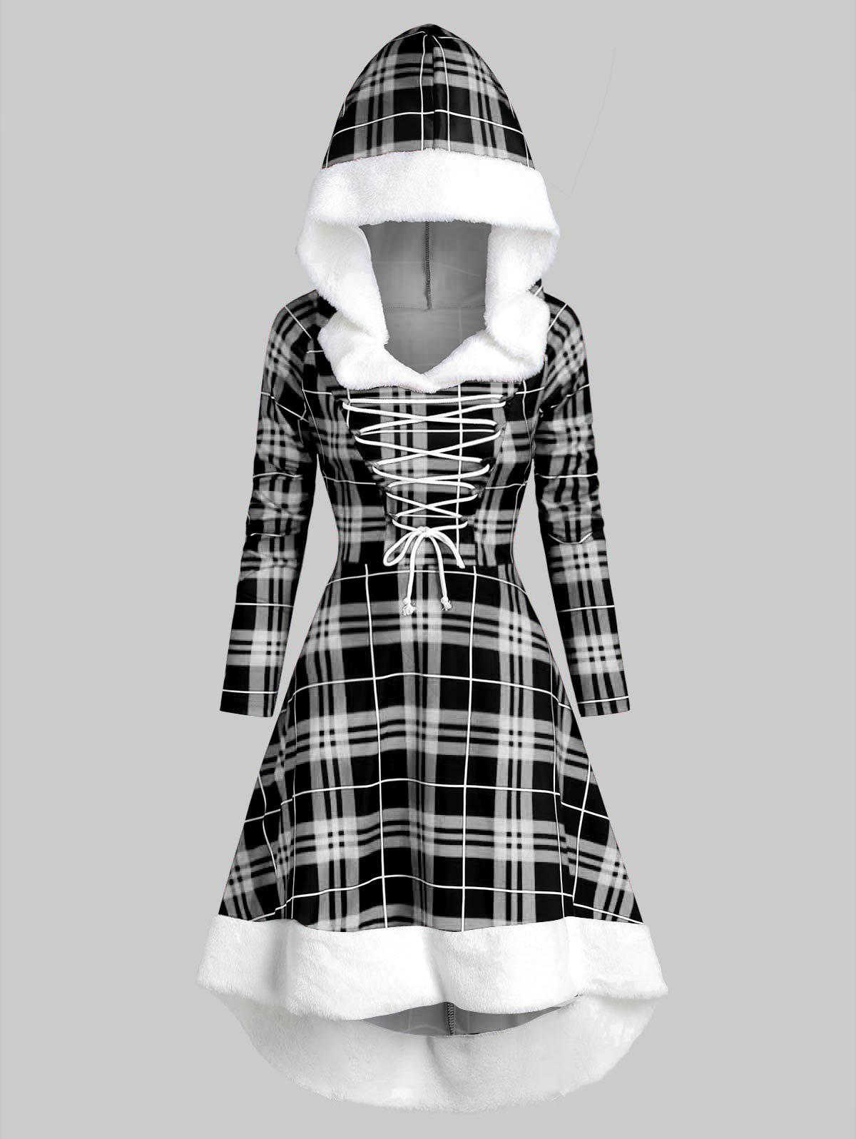 Plaid Faux Fur Insert Hooded Lace Up High Low Dress - WHITE 3XL
