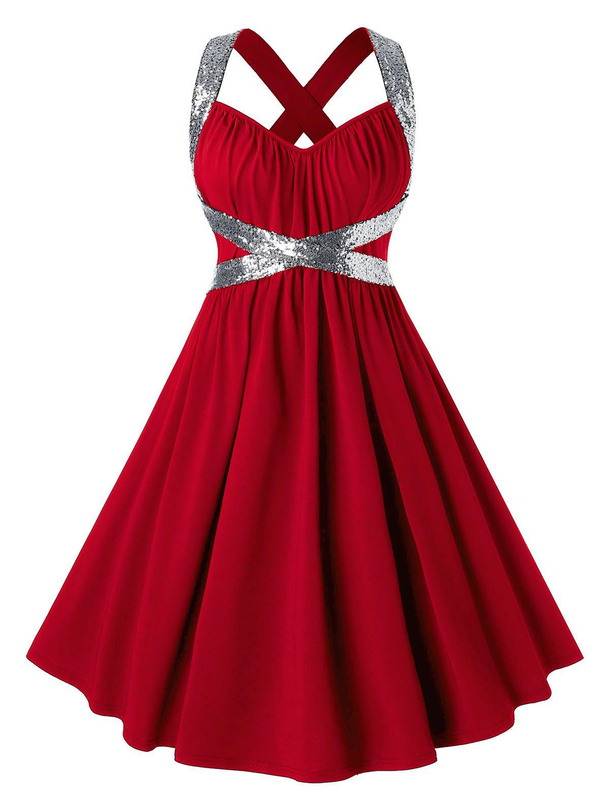 Plus Size Sequins Criss Cross Party Dress - RED 1X