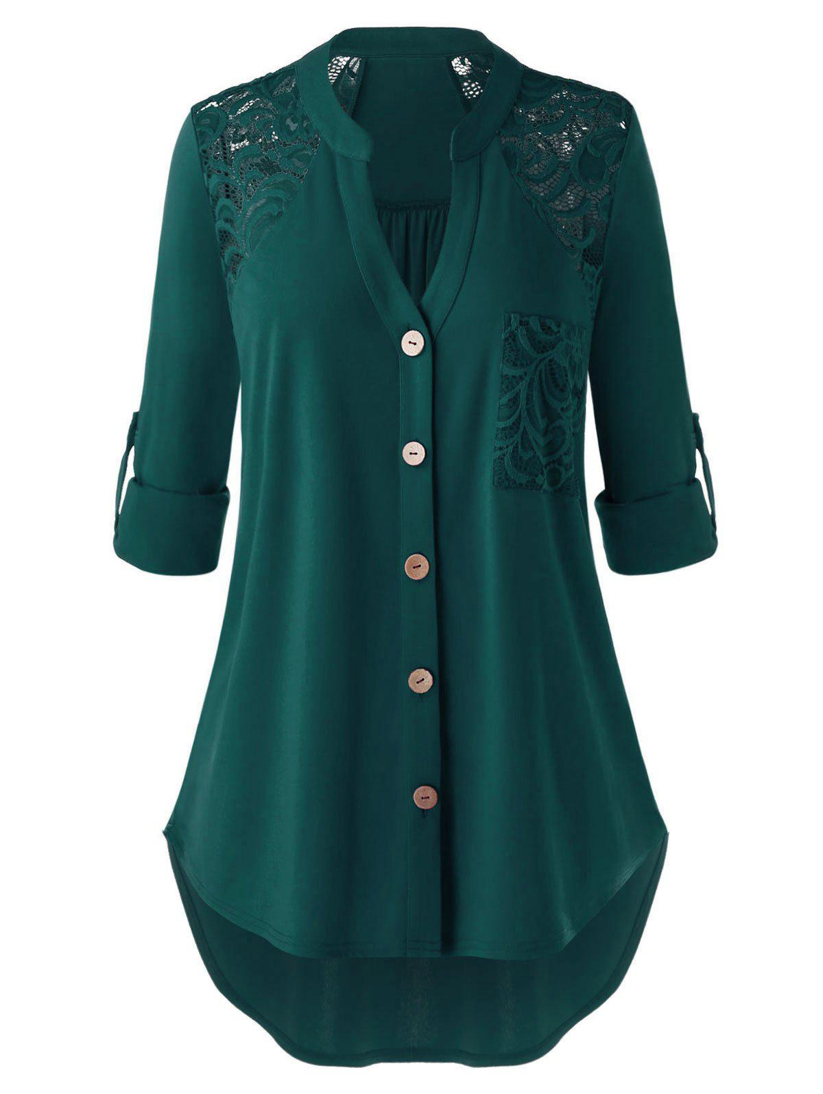 Plus Size Lace Panel Pocket Roll Up Sleeve Blouse - DEEP GREEN 4X