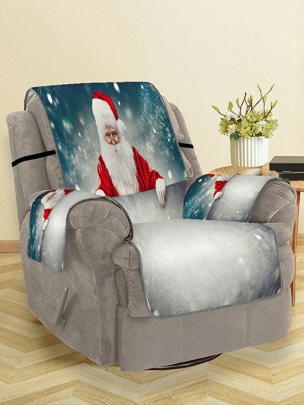 Christmas Santa Claus Snow Patterned Couch Cover - GRAY CLOUD SINGLE SEAT