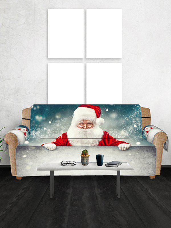 Christmas Santa Claus Snow Patterned Couch Cover - GRAY CLOUD TWO SEATS