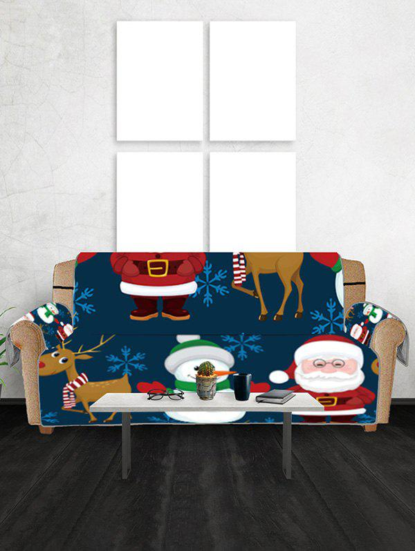 Christmas Santa Claus Snowman Elk Pattern Couch Cover - DARK SLATE BLUE THREE SEATS