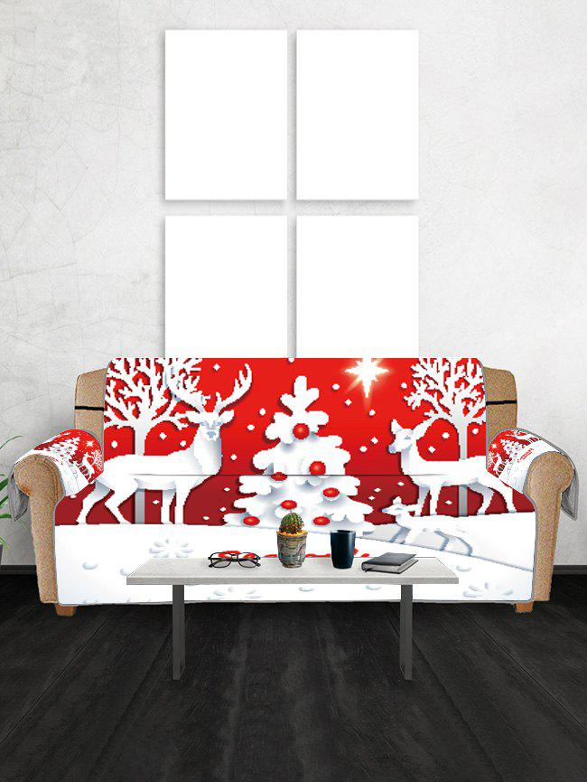 Christmas Tree Deer Greeting Pattern Couch Cover - VALENTINE RED TWO SEATS