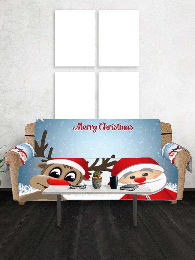Christmas Santa Claus and Deer Pattern Couch Cover - CRYSTAL BLUE THREE SEATS
