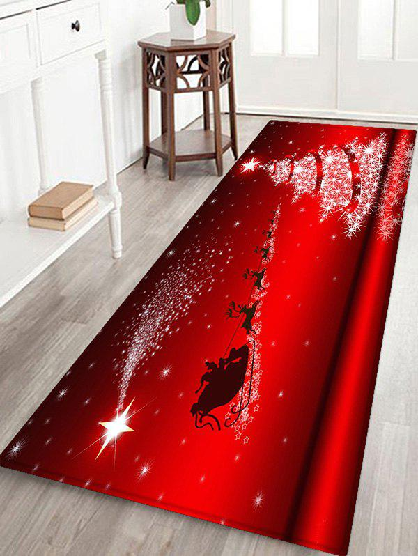 Christmas Star Tree Elk Sleigh Pattern Water Absorption Area Rug - RED W24 X L71 INCH